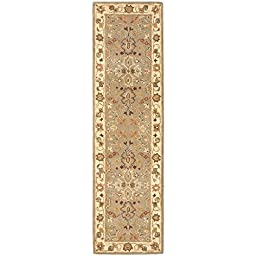 Safavieh Heritage Collection HG959A Handmade Light Green and Beige Wool Runner, 2 feet 3 inches by 8 feet (2\'3\