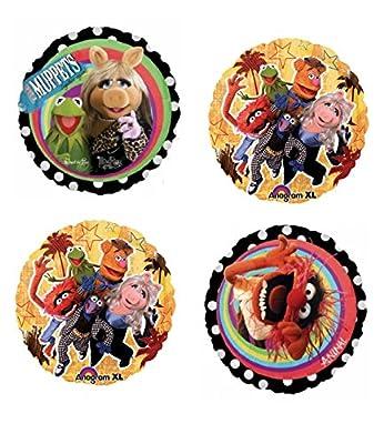 "4 Muppets 18"" Mylar Balloons - Animal, Miss Piggy, Kermit"