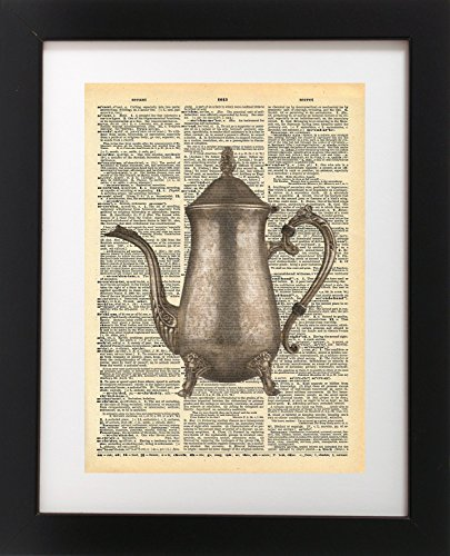 Vintage Teapot Vintage Dictionary Print 8x10 inch Home Vintage Art Abstract Prints Wall Art for Home Decor Wall Decorations For Living Room Bedroom Office Ready-to-Frame