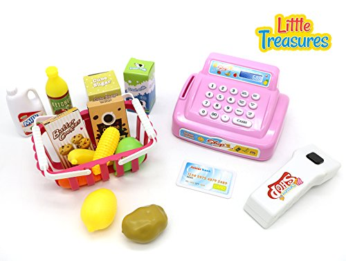 Happy Little Shopping toy set of 26 pcs recommended for age 3+ include battery operated cash register making real sounds, artificial ATM card, shopping basket and toy milk, biscuits, vegetables (Real Cash Register With Scanner compare prices)