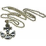 Fashion Vintage Bronze Chain Anchor Shape Pendant Long Chain Necklace Clothes