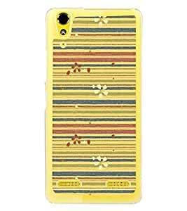 Lines Pattern with Flowers 2D Hard Polycarbonate Designer Back Case Cover for Lenovo A6000 Plus :: Lenovo A6000+ :: Lenovo A6000