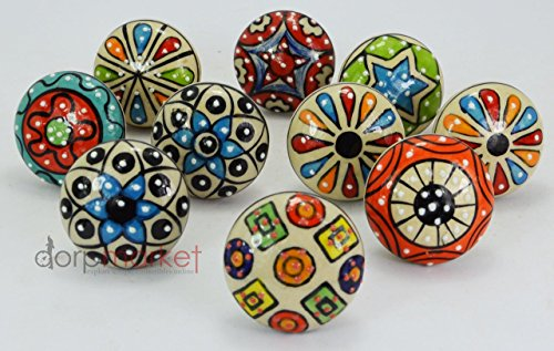 BLUE NIGHT10 Pieces Set Dotted Ceramic Cabinet Colorful Knobs Furniture Handle Drawer Pulls (Air Conditioner In India compare prices)