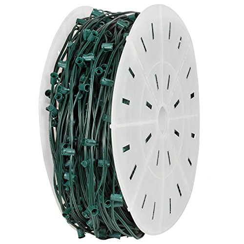 Holiday Lighting Outlet C7 Christmas Stringer Bulk, 6″ Spacing, Candelabra Base (E12), SPT-1 7 Amp wiring, 1000′ Reel (Green, 6″ Spacing)