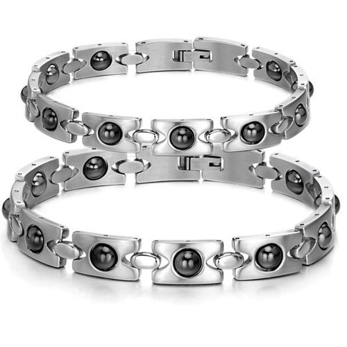OPK Health Stainless Steel Couple Bracelet Magnetic Stone Bangle Pair Chain Ts8245