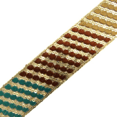 Multicolor Ribbon Trim Light Gold Sequin Sewing Craft Decorative Border Lace 4 Yd