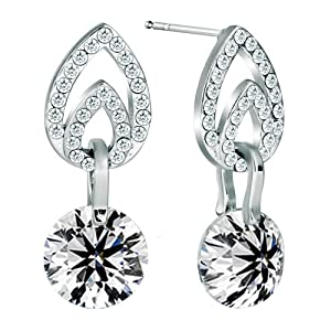 Pugster Silver Tone Apr Birthstone Clear White Crystal Dangle Earrings