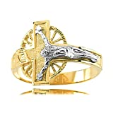Men'S Crucifix Design Ring in Two Tone White & Yellow Gold - 14kt - Seductive