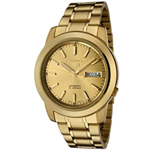 Seiko Men's SNKE56 Seiko 5 Automatic Gold Dial Gold-Tone Stainless Steel Watch