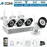 A-ZONE4CH960PワイヤレスCCTVセキュリティカメラシステム QRコード80フィートIR LED赤外線ナイトビジョン、プリインストール 1280TVL1.0メガピクセル 全天候のWifi IP防犯カメラキット