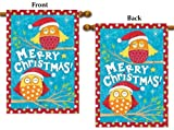 Merry Christmas Owls House Flag 2 Sided Vertical Banner 28x40 Large