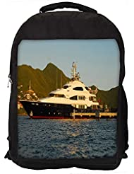 "Snoogg White And Black Boat Casual Laptop Backpak Fits All 15 - 15.6"" Inch Laptops"
