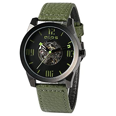 ALPS Men's Casual Skeleton Waterproof Mechanical Automatic Genuine Leather Watch (Green)