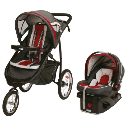 Fantastic Deal! Graco FastAction Fold Jogger Click Connect Travel System/Click Connect 35, Chili Red