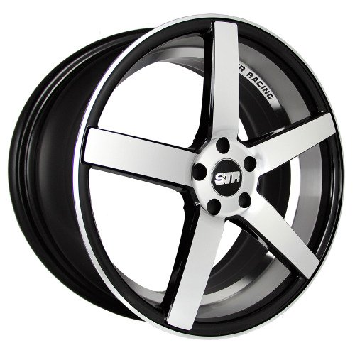 BLACK MACHINED FACE STR 607 17X9 +15 5X114.3 RIM FIT TC XB TSX RSX MR2 CIVIC MUSTANG GT (Str Rims 17 Inch compare prices)