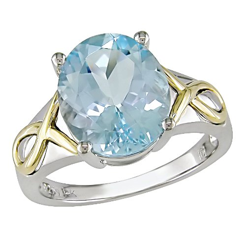 14K Yellow Gold and Sterling Silver Blue Topaz Ring
