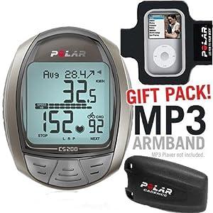 Polar CS200CAD Cycling Computer with Cadence Sensor and MP3 Armband
