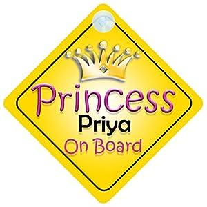 Amazon.com: Princess Priya On Board Girl Car Sign Child