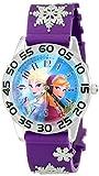Disney Kids' W002033 Elsa and Anna Plastic Time Teacher Watch with Purple Band