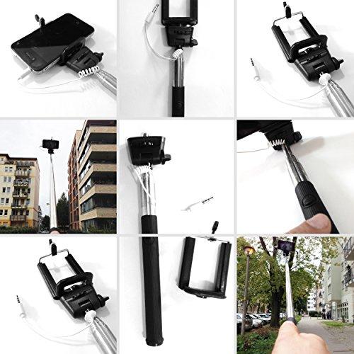 Handy Selfi Stick Stange für Samsung GALAXY S4 mini i9195 8GB black Android Smartphone - 2teilig: Teleskopstange, interner Kabel-Stecker-Auslöser - 3,5mm Klinkenstecker, Universalhalterung 22-105 cm- Schwarz - Armverlängerung - für IOS und Android Smartphones