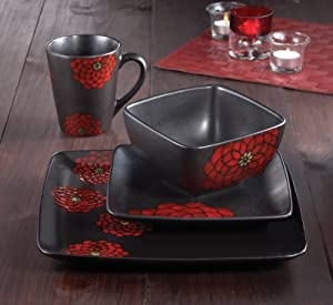 American Atelier Asiana Red 16-Piece Dinnerware Set by American Atelier