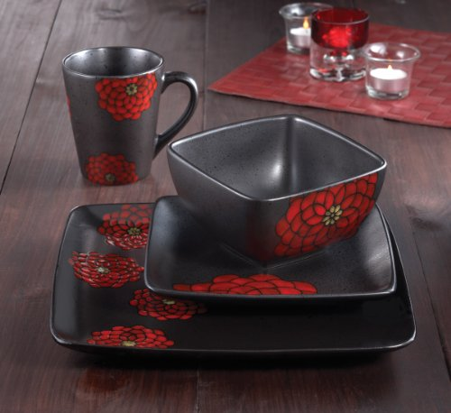 American Atelier Asiana Red 16-Piece Dinnerware