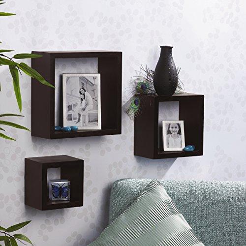 wall mount floating shelves square shelf set 3 complatible. Black Bedroom Furniture Sets. Home Design Ideas