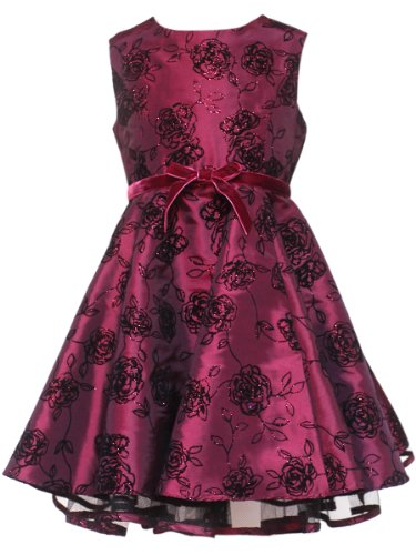 Girls Flocked rare dress in Burgundy