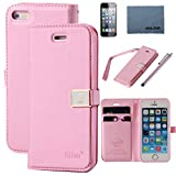 iPhone 5 case,iPhone 5S case,by Ailun,Wallet case,PU leather case,credit card holder,Flip Cover Skin[Pink] with screen protect and styli pen