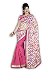 MYFZONE Fancy Flower Design Chiffon & Brasso Gorgeous Lace Saree [MFZ907SF_Pink And White]