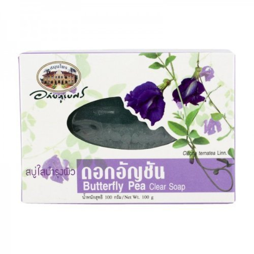 Abhaibhubejhr Butterfly Pea Soap Bar The Cleansing Effect Of Pea Fiber. And Skin The Skin Youthful And The Properties Of The Vitamin. It Protects Skin From The Damage Of Free Radicals. It Makes The Skin Look Younger Looking 100G