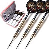 CUESOUL 21 Grams Steel Tip Darts With Deluxe PU Darts Case - Dragon Series 001