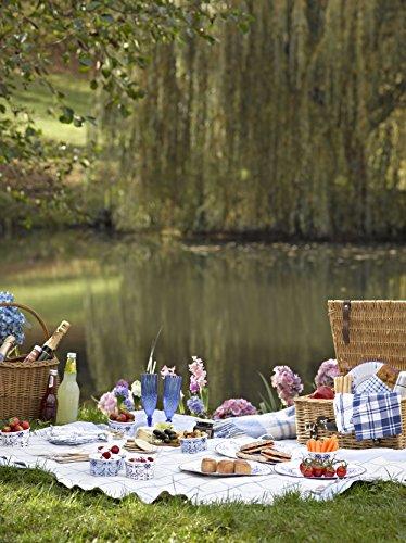 Talking Tables Party Porcelain Square Table Cover, 140 x 140cm, Blue & White