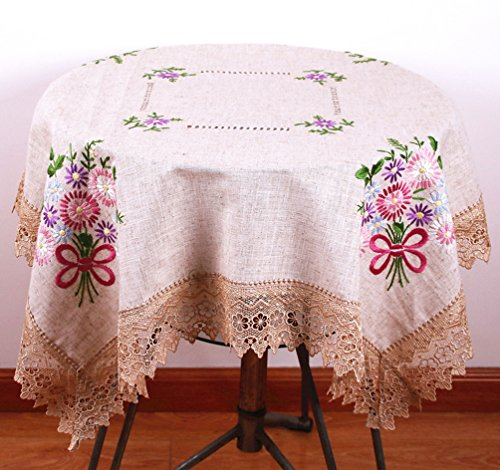 Fashion 100% Handmade Embroidered Tablecloth Vintage Table Topper Floral Embroidered Table Cover With Lace Edge Square Tablecloth 36 By 36 Inch (Vintage Floral Tablecloth compare prices)
