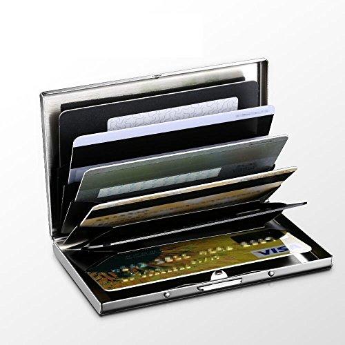 Adorner クレジットカードケース RFID識別 カードケース ステンレス鋼 スロット六つあり(シルバー)