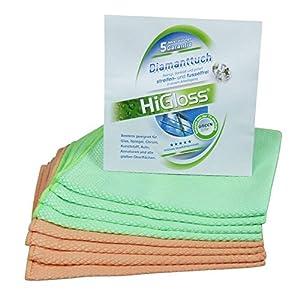6 tlg. HiGloss Diamant-Tücher-Set 40/40cm, 2 farbig, mint, terra