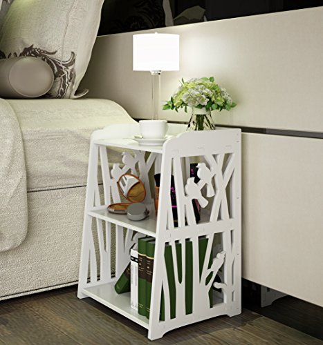 Best Prices! Mybestfurn Bird Pattern Plastic-Wood White Bed End Cabinet Nightstand Bathroom Living R...