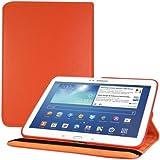 kwmobile® FUNDA DE CUERO 360º Premium para Samsung Galaxy Tab 3 10.1 P5200 / P5210 / P5220 en Naranja con una práctica función de soporte y Auto Sleep / Wake Up