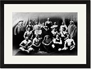 Black Framed/Matted Print 17x23, Group of Russian Wrestlers