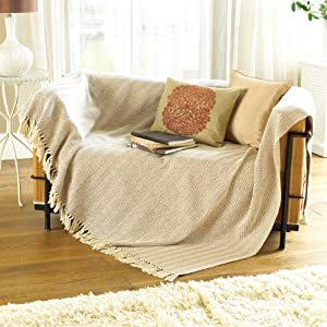 Large Natural Beige Sofa Throw: Amazon.co.uk: Kitchen amp; Home