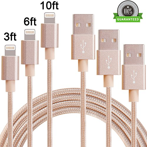 Amoner 3Pack Lightning to USB Cable Assorted Lengths iPhone Charger Sync and Charging Cord iPad Cable Nylon Braided for iDevices on iOS10(3FT, 6FT, 10FT, Gold)