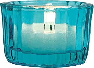 Luna Bazaar Candle Holder (1.25-Inch, Cup Design, Turquoise Blue Vintage Glass) - For Home Decor and Wedding Decorations - For Use with Tea Light Candles