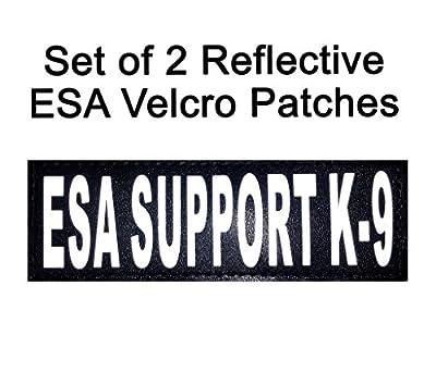"Set of 2 Reflective ""ESA Support K-9"" Velcro Patches Emotional Support for Service dog harnesses & vests."