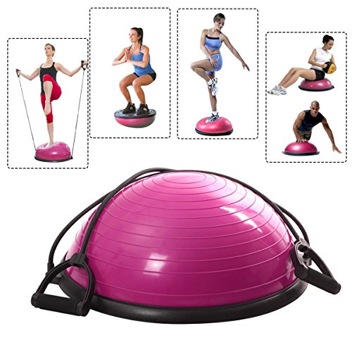 Pink Half Ball Balance Trainer Yoga Fitness Pilates Strength Exercise Workout with Resistance Bands