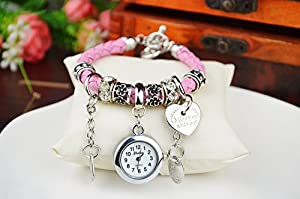 Fashion Women Ladies Heart Alloy Weave Rope Elegant Bracelet Quartz Jewelry Watch Pink