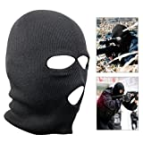 SODIAL(TM) Black Acrylic Military Three Holes Balaclava Helme