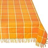 Mahogany Cristo Square Fringe Tablecloth, 60-Inch, Orange