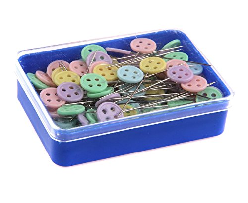 "Happy Will 100 Pcs Flat Button 1.9"" Head Pins Boxed Straight Pins Quilting Quilter's Pins with Stylus"