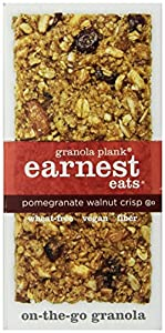 Earnest Eats Vegan Granola Planks High in Fiber, Omega-3s and Protein - Pomegranate Walnut Crisp - (Case of 6 - 3oz)