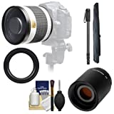 Samyang 500mm f 6.3 Mirror Lens (White) with 2x Teleconverter (=1000mm) + Monopod Kit for Nikon D3100 - D3200 - D5100 - D7000 - D700 - D800 - D4 Digital SLR Cameras